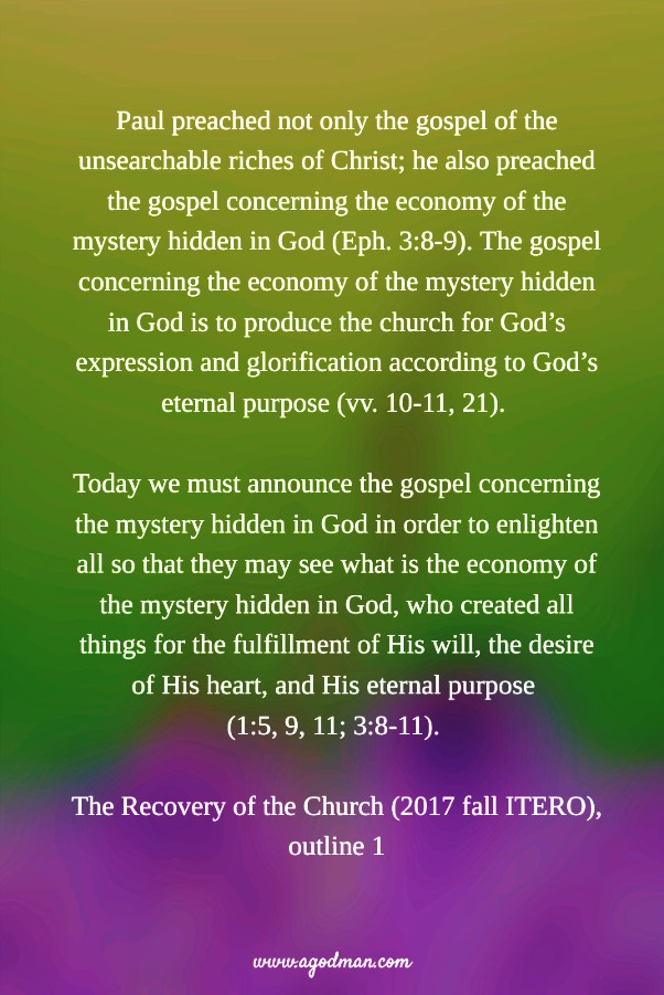 Preaching the Gospel concerning the Economy of the Mystery
