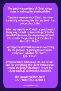 Having a Genuine Experience of Christ and Being Transformed for the Church Life