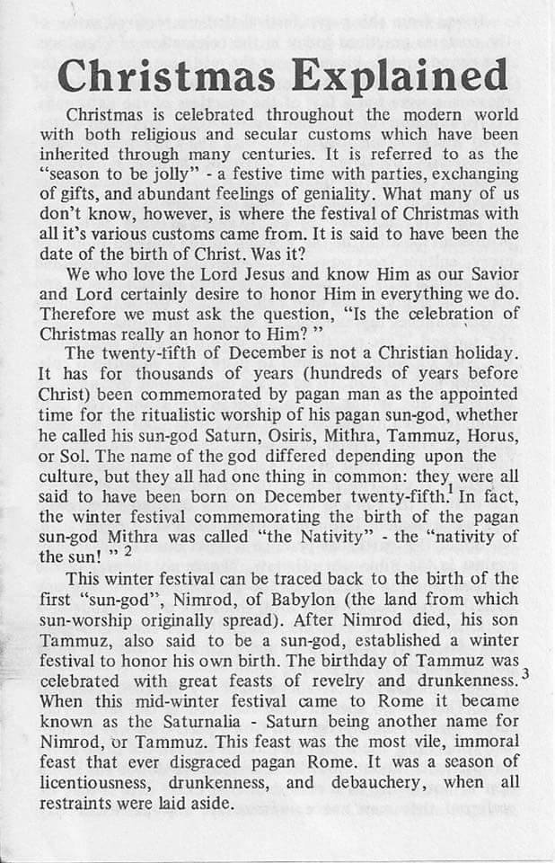 Christmas explained - gospel tract via, Church in San Diego, CA, USA - page