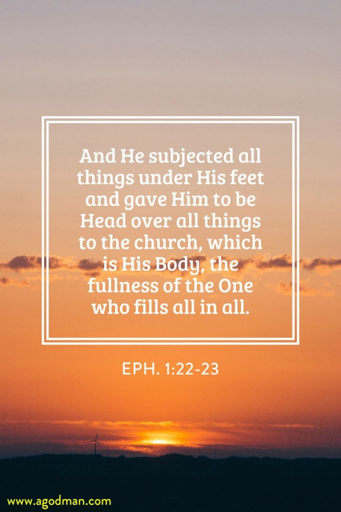 Eph. 1:22-23 And He subjected all things under His feet and gave Him to be Head over all things to the church, which is His Body, the fullness of the One who fills all in all.