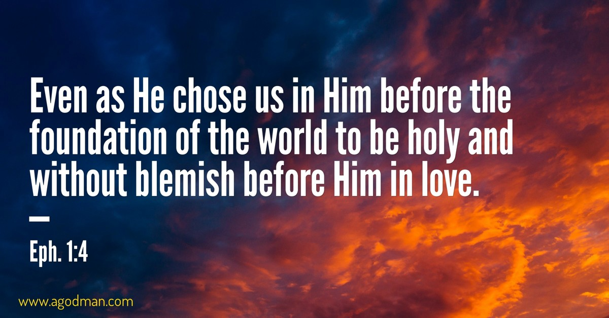 Eph. 1:4 Even as He chose us in Him before the foundation of the world to be holy and without blemish before Him in love.