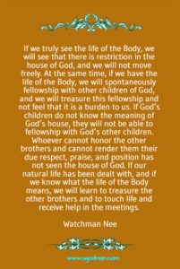 Our Natural Man needs to be Dealt with for us to have the Fellowship of the Body