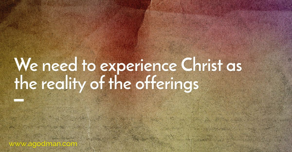 We need to experience Christ as the reality of the offerings