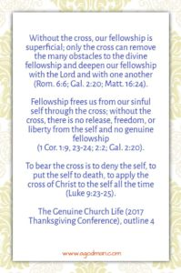 The Experience of the Cross bring us into a Deeper Fellowship in the Body of Christ