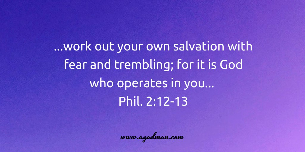 ...work out your own salvation with fear and trembling; for it is God who operates in you... Phil. 2:12-13