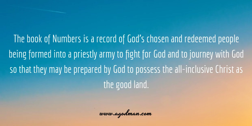 The book of Numbers is a record of God's chosen and redeemed people being formed into a priestly army to fight for God and to journey with God so that they may be prepared by God to possess the all-inclusive Christ as the good land.