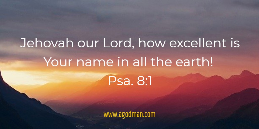 Jehovah our Lord, how excellent is Your name in all the earth! Psa. 8:1