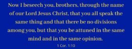 Now I beseech you, brothers, through the name of our Lord Jesus Christ, that you all speak the same thing and that there be no divisions among you, but that you be attuned in the same mind and in the same opinion. 1 Cor. 1:10