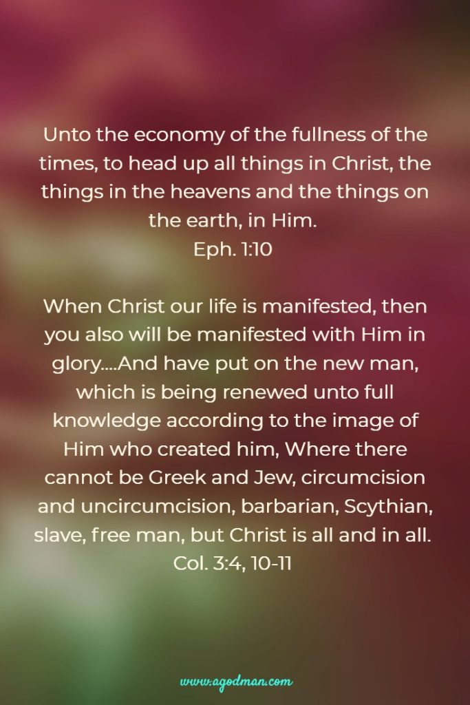 Unto the economy of the fullness of the times, to head up all things in Christ, the things in the heavens and the things on the earth, in Him. Eph. 1:10 When Christ our life is manifested, then you also will be manifested with Him in glory....And have put on the new man, which is being renewed unto full knowledge according to the image of Him who created him, Where there cannot be Greek and Jew, circumcision and uncircumcision, barbarian, Scythian, slave, free man, but Christ is all and in all. Col. 3:4, 10-11